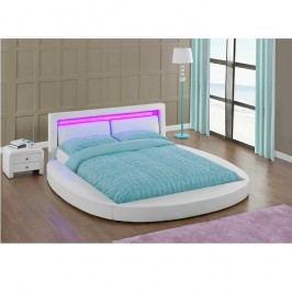 Ultramoderní manželská postel 180x200 cm s roštem a LED osvětlením bílá ekokůže TK3008