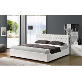 Manželská postel 183x200 cm s výklopným roštem bílá ekokůže TK3009 ATYP