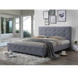 Manželská postel 160x200 cm s roštem šedá látka TK3011
