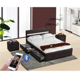 Manželská postel 180x200 cm s roštem, Bluetooth repro a LED osvětlením černá ekokůže TK3017