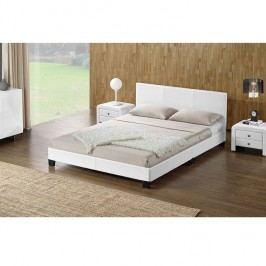 Manželská postel 180x200 cm s lamelovým roštem bílá ekokůže TK3018