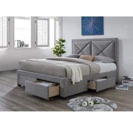 Manželská postel 180x200 cm s úložným prostorem a roštem šedá látka TK3022