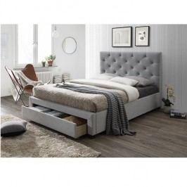 Manželská postel 160x200 cm s úložným prostorem a roštem šedá látka TK3023