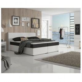 Manželská postel 160x200 cm typu ECOSPRING bílá ekokůže a černá látka TK3024 MEGAKOMFORT VISCO