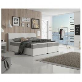 Manželská postel 160x200 cm typu ECOSPRING bílá ekokůže a šedá látka TK3024 MEGAKOMFORT VISCO