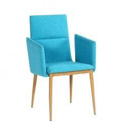 Jídelní židle v tyrkysové barvě v povrchové úpravě přírodního dřeva TK2064