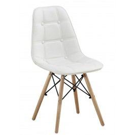 Jídelní židle v retro stylu v bílé ekokůži F1233