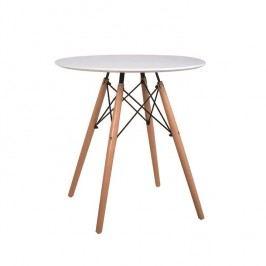Jídelní stůl kulatý 60 cm bílý s dřevěnými nožkami a kovovým zdobením TK259