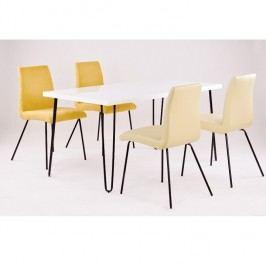 Jídelní stůl 150x80 cm v bílé barvě s vysokým leskem TK2080