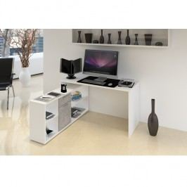 Počítačový stůl 135x135 cm v bílé barvě v kombinaci s šedou TK2091
