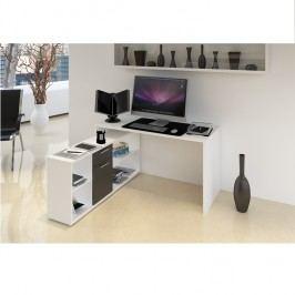 Počítačový stůl 135x60cm v bílé barvě v kombinaci s černou TK2091
