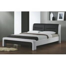 Manželská postel s vysokým čelem 180x200 cm v bílé a černé barvě s roštem KN728