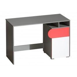 Pracovní stůl s bílými dvířky s možností výběru barvy a deskou v barvě grafit typ F8 KN742