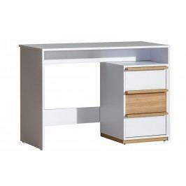 Pracovní stůl se zásuvkami v bílé barvě v kombinaci s ořechem typ E14 KN603