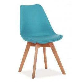 Plastová jídelní židle v provedení mořská modrá s dubovými nožičkami KN361