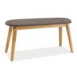 Pohodlná dřevěná lavice čalouněná šedou látkou KN711