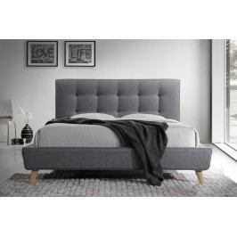 Manželská postel s vysokým čelem 160x200 cm v šedé barvě s roštem KN726