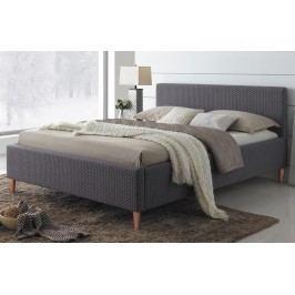 Manželská postel 160x200 cm v šedé barvě s roštem KN723