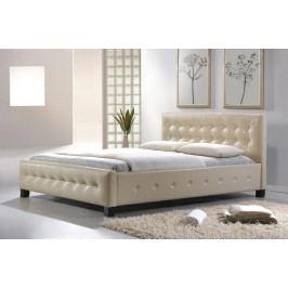 Manželská postel 160x200 cm v krémové barvě s roštem KN725
