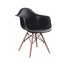 Designové trendy křeslo v kombinaci dřeva buk a černého plastu TK190