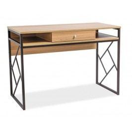 Pracovní stůl se zásuvkou v dekoru dub s kombinací kovu v tmavě hnědé barvě typ B KN602