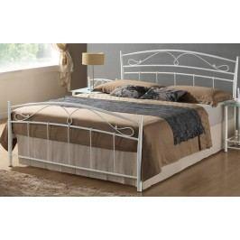 Kovová postel 140x200 cm v bílé barvě s roštem KN749