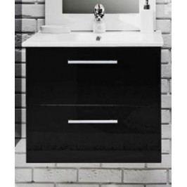 Koupelnová skříňka s umyvadlem v černém lesku 79 cm F1250