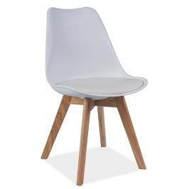 Plastová jídelní židle v bílém provedení s bukovými nožičkami KN361