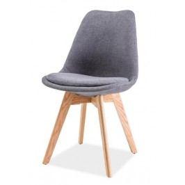 Čalouněná jídelní židle tmavě šedá v kombinaci s dekorem dub KN1025 typ 1