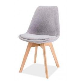 Čalouněná jídelní židle v šedé barvě v kombinaci s dekorem dub typ 1 KN1025