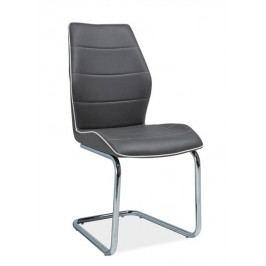 Jídelní židle s čalouněním v šedé ekokůži s bílým lemováním KN646