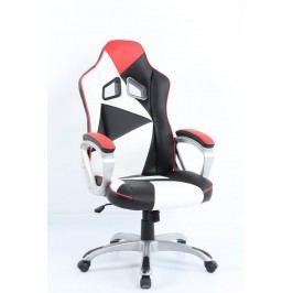 Kancelářské křeslo v kombinaci bílé a červené barvy F157