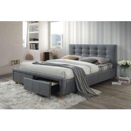 Manželská postel s vysokým čelem 160x200 cm v šedé barvě s roštem a úložným prostorem KN724