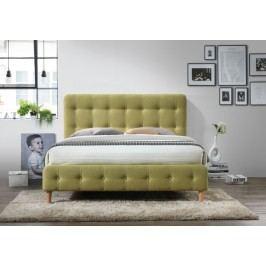 Manželská postel s vysokým čelem 160x200 cm v zelené barvě s roštem KN719
