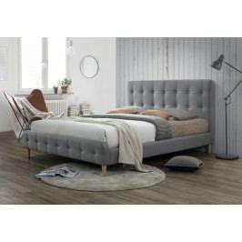 Manželská postel s vysokým čelem 160x200 cm v šedé barvě s roštem KN719