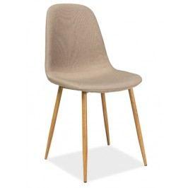 Jídelní židle s čalouněním v béžové látce na kovové konstrukci KN193