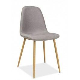 Jídelní židle s čalouněním v šedé látce na kovové konstrukci KN665