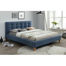 Manželská postel s vysokým čelem 160x200 cm v modré denim barvě s roštem KN634