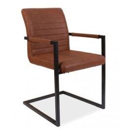 Jídelní židle s čalouněním v hnědé ekokůži na kovové konstrukci KN668