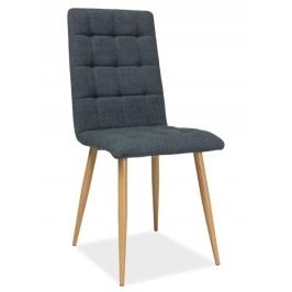 Jídelní židle s čalouněním v tmavě šedé látce na kovové konstrukci KN667
