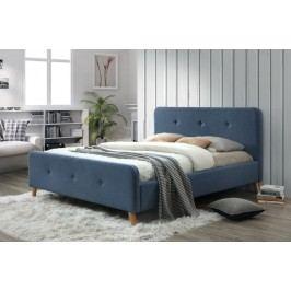 Manželská postel s vysokým čelem 160x200 cm v modré denim barvě s roštem KN234