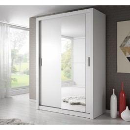 Šatní skříň 150 cm s posuvnými dveřmi se zrcadlem v bílé barvě KN698