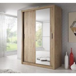 Šatní skříň 150 cm s posuvnými dveřmi se zrcadlem v dekoru dub shetland KN698