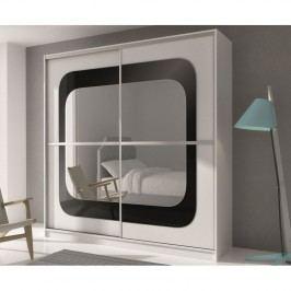 Šatní skříň 203 cm s posuvnými dveřmi z černého skla a zrcadlem v bílé barvě KN699