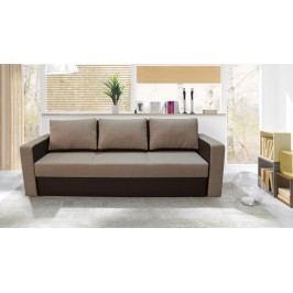 Rozkládací pohovka s úložným prostorem v kombinaci béžové a tmavě hnědé barvy F1258