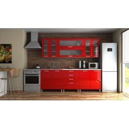 Moderní kuchyňská linka v červeném lesku s úchytkami 220 cm MDR F1333