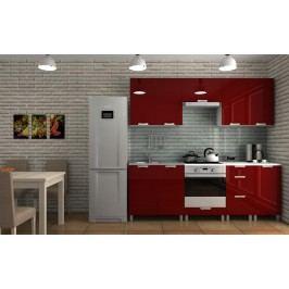 Kuchyňská linka v barevném provedení bordó lesk s úchytkami KRF F1291