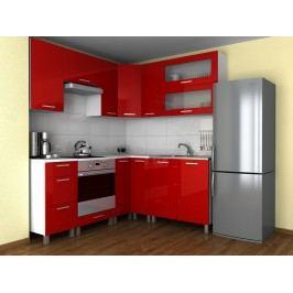 Rohová kuchyňská linka v červeném lesku s úchytkami KRF F1329