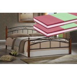 Manželská postel 180x200 cm v klasickém stylu s matracemi a roštem KN196