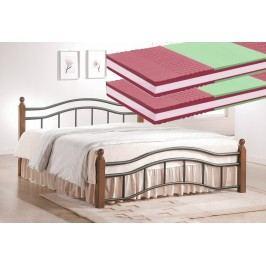 Manželská postel 180x200 cm v klasickém stylu s roštem a matracemi KN368